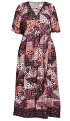 SALE! Plus Size Patchwork Print Lace-Up Dress Size 3x 4x