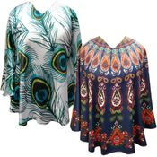 NEW! Plus Size Peacock Feathers, Teardrop or Elephants Light Weight Ponchos Cover Ups - One Size