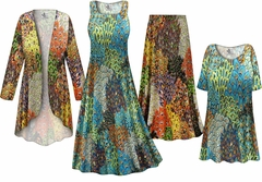 Plus Size Perfectly Peacock Slinky Dresses Shirts Jackets Pants Palazzo�s & Skirts - Sizes Lg to 9x