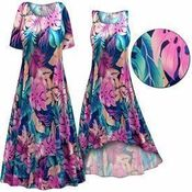 SALE! Pink & Green Tropical Foliage Slinky Print Plus Size & Supersize Short or Long Sleeve Dresses & Tanks 0x