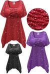 SALE! Plus Size Sparkling Purple or Black Glitter Crinkle Slinky Babydoll 5x