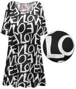 CLEARANCE! Plus Size LOVE Print Extra Long Poly/Cotton T-Shirts 5x