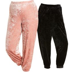 NEW! Plus Size Pink or Black Crushed Velour Jogger Pants With Pockets Size 2x 3x 4x