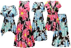 NEW! Plus Size Pink or Blue Floral Print SLINKY Dresses Shirts Jackets Pants Palazzo�s & Skirts - Sizes Lg to 9x