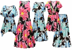 SALE! Plus Size Pink or Blue Floral Print SLINKY Dresses Shirts Jackets Pants Palazzo�s & Skirts - Sizes Lg to 9x
