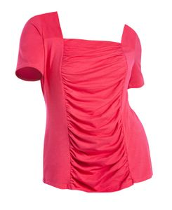 NEW! Plus Size Pink Ruched Square Neck Tunic Size 3x & 4x