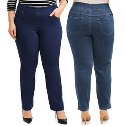 NEW! Plus Size Pull On 4 Pocket Tummy Control Stretchy Jeans Size 1xP 3x 4x