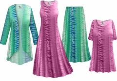 Plus Size Purple or Green Zebra Slinky Dresses Shirts Jackets Pants Palazzo�s & Skirts - Sizes Lg to 9x
