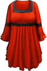 SALE! Plus Size Ruby Red Lace Trim Bell Sleeve Victorian Gothic Babydoll Slinky Top 5x