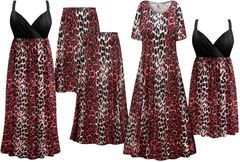 NEW! Plus Size Red Leopard Print Slinky Dresses Shirts Jackets Pants Palazzo�s & Skirts - Sizes Lg to 9x