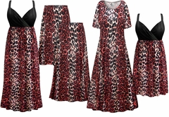 SALE! Plus Size Red Leopard Print Slinky Dresses Shirts Jackets Pants Palazzo�s & Skirts - Sizes Lg to 9x