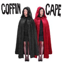SALE! Plus Size Ruffled Sparkly Red or Black Halloween Costume COFFIN CAPE 1x 2x 3x 4x 5x 6x 7x 8x