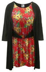 NEW! Plus Size Red Tropical Floral Print Breezy Dress With Attached Jacket Customizable 0x 1x 2x 3x 4x 5x 6x 7x 8x 9x