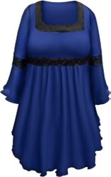 SALE! Plus Size Royal Blue Lace Trim Bell Sleeve Victorian Gothic Babydoll Slinky Top 5x 7x