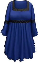 SOLD OUT! Plus Size Royal Blue Lace Trim Bell Sleeve Victorian Gothic Babydoll Slinky Top