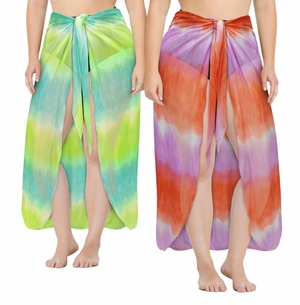 Plus Size Customizable Sheer Orange & Purple or Green & Yellow Print Sarong - Pareo Swimsuit Coverup - 1x 2x 3x 4x 5x 6x 7x 8x 9x
