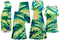 NEW! Plus Size Sky Palms Print Slinky Dresses Shirts Jackets Pants Palazzo�s & Skirts - Sizes Lg to 9x