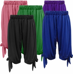 NEW! Plus Size COTTON/RAYON Solid Color Loose Tie Hem Capri Pants With Pockets - Sizes L XL 1x 2x 3x 4x 5x 6x 7x 8x 9x