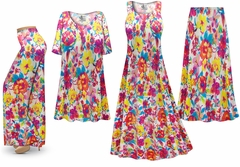 SALE! Plus Size Spring Flowers Print Slinky Dresses Shirts Jackets Pants Palazzo�s & Skirts - Sizes Lg to 9x