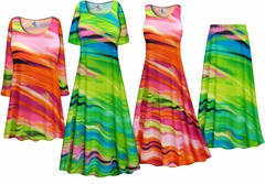 SALE! Plus Size Spring Song Print Slinky Dresses Shirts Jackets Pants Palazzo�s & Skirts - Sizes Lg to 9x