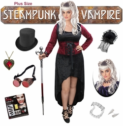 NEW! Plus Size Steampunk Vampire Halloween Costume Lg XL 1x 2x 3x 4x 5x 6x 7x 8x 9x