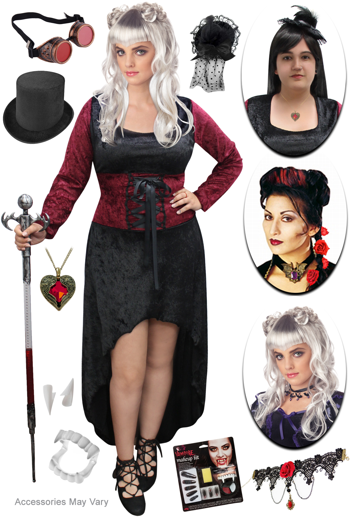 NEW! Plus Size Steampunk Vampire Halloween Costume Lg XL 1x 2x 3x 4x ...