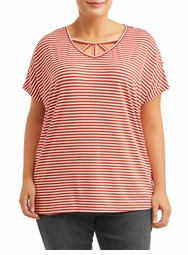 SALE! Plus Size Striped Light Weight Cage Neck Detail Short Sleeve Top Size 3x