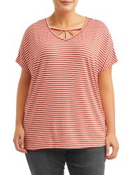 SALE! Plus Size Striped Light Weight Cage Neck Detail Short Sleeve Top Size 2x 3x
