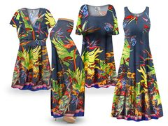 NEW! Plus Size Tasia Tropical Print SLINKY Dresses Tops Skirts Pants Palazzo�s & Skirts - Sizes Lg to 9x