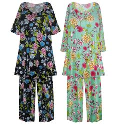NEW! Plus Size Teal & Black Floral Print Ultra Soft Brushed 2 Piece Pajama Pant Set Customizable 0x 1x 2x 3x 4x 5x 6x 7x 8x 9x