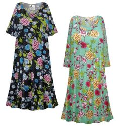 NEW! Plus Size Teal & Black Floral Print Sleep Gown - Muumuu - Moo Moo Dress Customizable 0x 1x 2x 3x 4x 5x 6x 7x 8x 9x