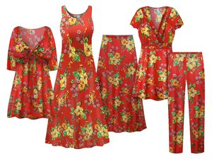 NEW! Plus Size Tropical Red Floral Print SLINKY Dresses Shirts Jackets Pants Palazzo�s & Skirts Customizable Sizes Lg to 9x