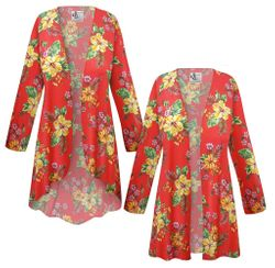 NEW! Plus Size Tropical Red Floral Print SLINKY Jackets & Dusters Customizable L XL 1x 2x 3x 4x 5x 6x 7x 8x 9x