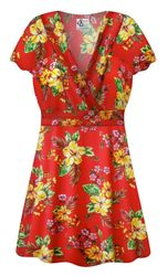 NEW! Plus Size Tropical Red Floral Print SLINKY Magic Babydoll Top Customizable L XL 1x 2x 3x 4x 5x 6x 7x 8x