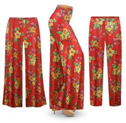 NEW! Plus Size Tropical Red Floral Print SLINKY Palazzo Pants - Tapered Pants Customizable L XL 1x 2x 3x 4x 5x 6x 7x 8x 9x