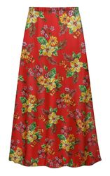 NEW! Plus Size Tropical Red Floral Print SLINKY Skirts Customizable L XL 1x 2x 3x 4x 5x 6x 7x 8x 9x