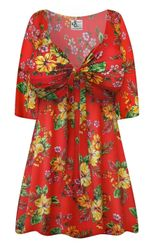 NEW! Plus Size Tropical Red Floral Print SLINKY Tie Babydoll Shirt Customizable L XL 1x 2x 3x 4x 5x 6x 7x 8x 9x