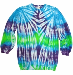 SALE! Plus Size Turquoise Purple & Green Tie Dye Print Long Sleeve Sweatshirt 2x 3x 4x
