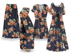 Plus Size Victorian BLUE Floral Print SLINKY Dresses Tops Skirts Pants Palazzo�s & Skirts - Sizes Lg to 9x