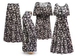 Plus Size Vienna Floral Print SLINKY Dresses Tops Skirts Pants Palazzo�s & Skirts - Sizes Lg to 9x