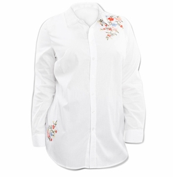SALE! Plus Size White Floral Embroidery Button Down Cotton Shirt 3x  4x