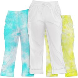 NEW! Plus Size White or Tie Dye Cargo Pants Convertible Length Size 4x 5x