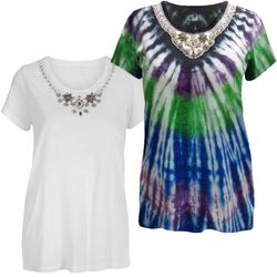 NEW! Plus Size White or Tie Dye Round Beaded Neckline Cap Sleeve T-Shirt 4x 5x
