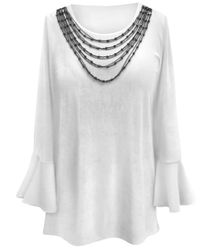 NEW! Plus Size White SMOOTH VELVET Long Bell Sleeve Top with Removable Necklace - Sizes Lg XL 1x 2x 3x 4x 5x 6x 7x 8x 9x