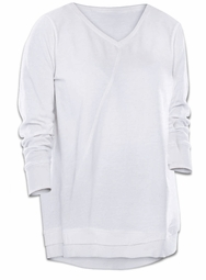 SALE! Plus Size White V-Neck Hi Lo Hem Sweatshirt 2x 3x 4x