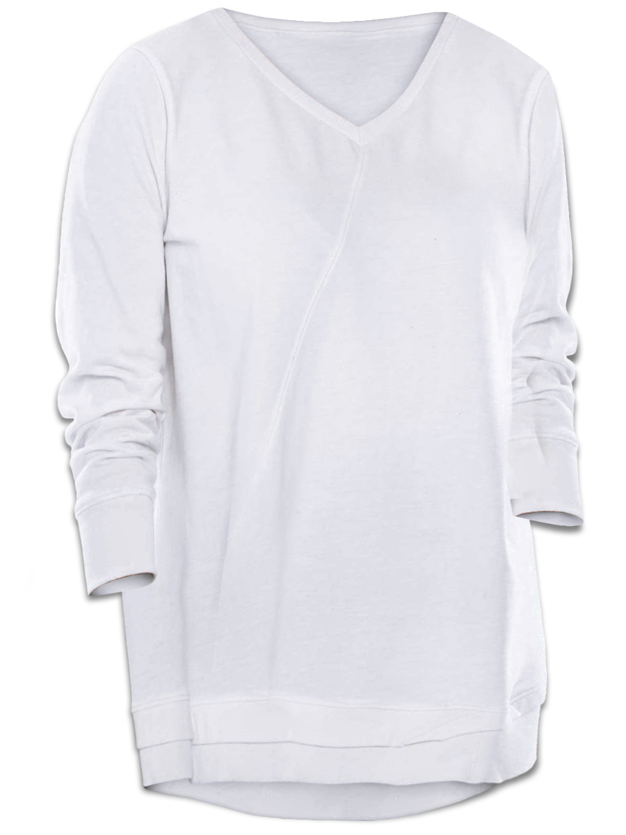 1fbe5763d2e3d NEW! Plus Size White V-Neck Hi Lo Hem Sweatshirt 2x 3x 4x