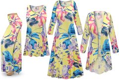 NEW! Plus Size Yellow Floral Print SLINKY Dresses Shirts Jackets Pants Palazzo�s & Skirts - Sizes Lg to 9x