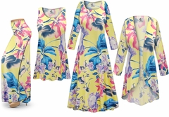 SALE! Plus Size Yellow Floral Print SLINKY Dresses Shirts Jackets Pants Palazzo�s & Skirts - Sizes Lg to 9x