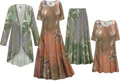 Plus Size Green or Brown Lilies Print Slinky Dresses Shirts Jackets Pants Palazzo�s & Skirts - Sizes Lg to 9x