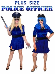 SALE! Plus Size Police Officer Halloween Cop Costume and Accessory Kit! Sizes Lg XL 1x 2x 3x 4x 5x 6x 7x 8x 9x